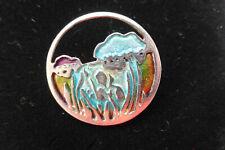 Designer PAT CHENEY Ortak Scottish Silver enamel art nouveau Deco Brooch 2