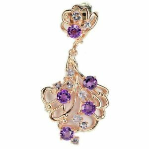 """Genuine Amethyst Tanzanite 14K Rose Gold on Sterling Silver Box 18"""" Necklace"""