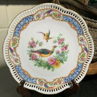 "Schumann Bavaria 7 3/4"" Pierced Plate Chelsea Birds Arzberg, Germany - Excellent"