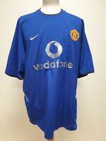 P590 MENS MANCHESTER UTD FC 7 BLUE NIKE 2002 VODAFONE 3RD KIT JERSEY UK XL EU 56