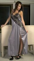 Long Nightgown Silver with Black Cross Dyed Lace Front Slit S