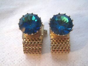 Vintage Blue Rainbow Crystal Rhinestone Wrap Around Signed Gold Tone Cufflinks