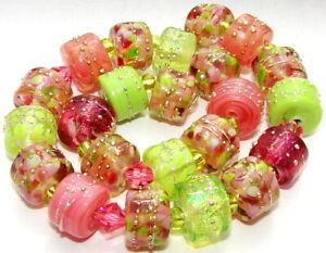 "Sistersbeads ""D-Watermelon"" Handmade Lampwork Beads"