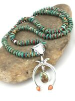 Native NAVAJO Sterling Silver ROYSTON Turquoise Spiny Pendant Necklace NAJA 1342