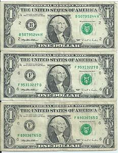 $1 FRN 1995 Web notes set of 3 BH 5/8 FD 5/10 FD 4/10 all in Fine Plus