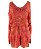 Free People Women's Pink Hot Tropics V-Neck Long Sleeve Sweater Size XS NEW