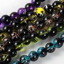 Black Spray Painted Drawbench Glass Round Beads (box45) 4mm LT Brown