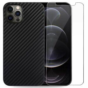 Coque Silicone Carbone+ Vitre Verre Trempé iPhone 13 Pro Max 12 11 XR XS 8 7 SE