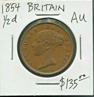 GREAT BRITAIN - FANTASTIC HISTORICAL QV 1/2 PENNY, 1854, KM# 726