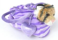 Aurora Fancy Pals Purple Zebra Striped Bag with Tiger Beanbag Plush Zip Top Bag