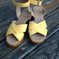 Topshop Top Shop Dolly Yellow Suede Wedge Platform Sandals 9.5 EU 40 UK 7 Shoes