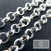 """925 Sterling Silver Necklace Chain S/F Mens Women Ladies Solid Belcher Link 16"""""""