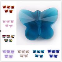 14mm Crystal Butterfly Charms Glass Faceted Beads Spacer DIY Jewelry Making New