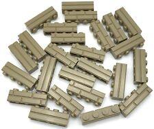 Lego 25 New Dark Tan Bricks Modified 1 x 4 with Masonry Profile Brick Profile