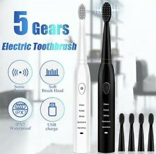 5 Pc Electric Toothbrush USB Charge Rechargeable Tooth Brushes Ultrasonic