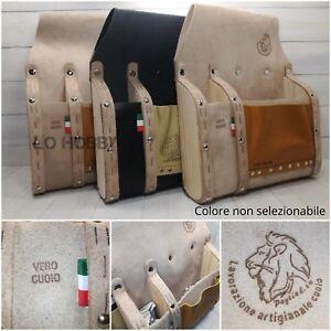 Borsa da per carpentiere tradizionale Italiana in pelle cuoio legno artigianale