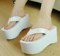 Summer Womens Fashion Sequins Platform Wedge High Heels Flip Flops Beach Sandals
