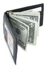 Black Genuine Leather Mens Bifold Spring Money Clip Wallet Card Holder NR...