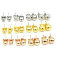 Unisex Stud Earrings Fashion Stainless Steel Ball Stud Earrings Round Ball Beads