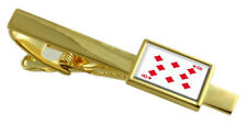 Diamond Playing Card Number 8 Gold-Tone Tie Clip Select Gift Pouch