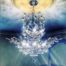 "USA BRAND Aspen 8 Light Chrome & Crystal Orchid Floral Small Chandelier 21""x22"""
