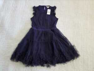 NEW GIRL'S 8 J CREW X CREWCUTS EMBELLISHED TULLE DRESS IN NAVY