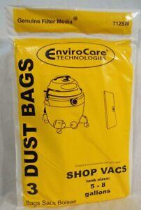 Shop Vac 90661 Craftsman Bags 5 6 8 Gallon ShopVac 3 pack Standard Filtration