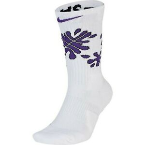 Nike Elite Crew Purple Splat Basketball Socks - Lg - 1 Pair