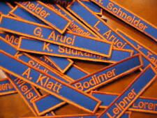 Namensschild royalblau orange,Feuerwehrnamen Klett Feuerwehr Namenschilder blau