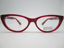 CAT EYE EYEGLASSES FRAME 51-15-135 RED SMOKE clear plastic LOOKOUT 1047 c3 NEW
