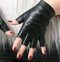 Genuine Leather Punk Snap Button Half Fingerless Biker Riding Glove Touch Screen