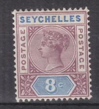 SEYCHELLES, 1892 QV, Die II, 8c. Brown Purple & Ultramarine, lhm.