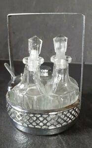 ANCIEN SERVITEUR de TABLE.SALIERE POIVRIÈRE HUILE VINAIGRE Métal argenté + verre