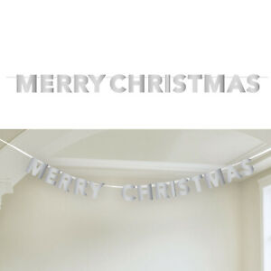 Shiny Silver Foil MERRY CHRISTMAS Party Banner Decoration Bunting Garland