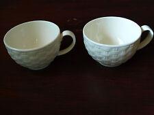AYNSLEY IVORY BASKETWEAVE TEA CUPS ONLY X 2.