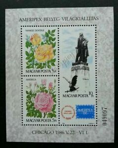 [SJ] Hungary Roses 1986 Eagle Bird Flower Flora Fauna (ms) MNH Chicago AMERIPEX