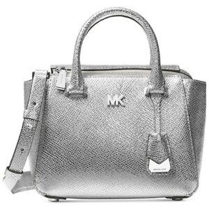 MICHAEL KORS Silver Metallic Nolita Leather Mini Messenger Bag