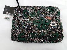 ZARA Emerald Green Embroidered Clutch Bag Ethnic Sequinned Beaded Handbag