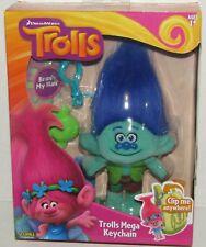 Branch with Blue Hair DreamWorks Trolls Mega Keychain Clip-On Plush Toy NEW