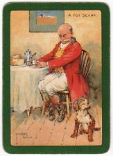 Playing Cards 1 Swap Card Old Vintage Wide HOT SCENT Hunting Man Dog LAWSON WOOD