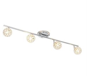 ALSY 20556-000 3 ft 4-Light Crystal Ball Chrome Fixed Track Lighting Kit Bar