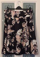 MONSOON Black Peach Silver Grey Floral Rose Print Satin Full Skirt Size 16