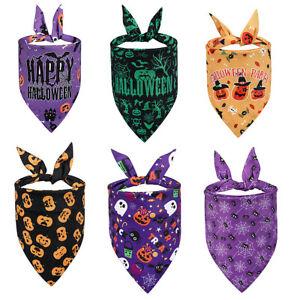 Halloween Pet Dog 7 Pattern Neckerchief Collar Bandana Scarf Ties Costumes