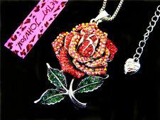 Betsey Johnson Shining crystal enamel Rose flower Pendant Sweater Necklace