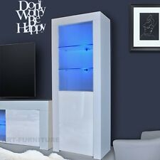 Modern High Gloss And Matt Display Cabinet Cupboard Black White Glass LED  LIGHTS Part 39