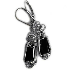 Black Tourmaline Earrings Sterling Silver Healing Stone Crystal Jewelry 2sE ZP
