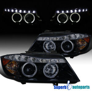 For 2006-2008 BMW 06-08 E90 Glossy Black Halo Projector Headlights R8 LED Strip