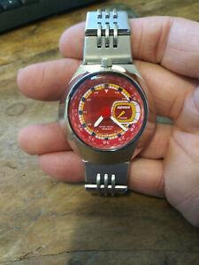 Pulsar Spoon by Seiko V707-0A40 Bullhead Red Dial Mens Watch Rare!!