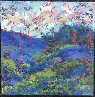 MTN GREENERY Original Acrylic Abstract Landscape Knife Painting TEXTURE 14x14 NR