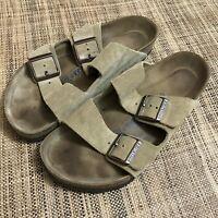 Birkenstock Women's Arizona Beige Suede Soft Footbed Sandals sz US 9 EUR 40